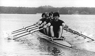 Quad scull - Quad scull Germany 1982: Martin Winter (front), Uwe Heppner (second), Uwe Mund (third), and Karl-Heinz Bußert (last)