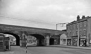 Burdett Road railway station - Site of the closed Burdett Road station in 1962