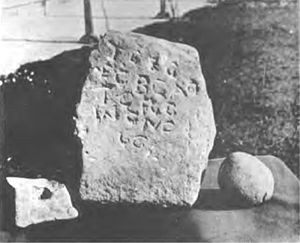 Burghead - Inscription stone at Burghead.