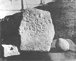 Burghead - Inscription stone at Burghead.