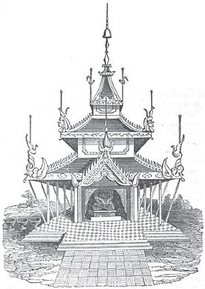 Zayat - Illustration of a traditional Burmese zayat