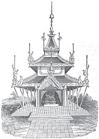 Zayat - Illustration of a traditional Burmese zayat