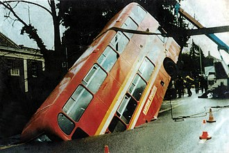Earlham Road - Few pictures of the event exist, the most well-known one being used for the Cadbury's Double Decker advertisements.