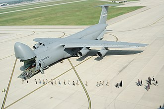 Airlift - A large military cargo aircraft: the Lockheed C-5 Galaxy