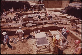 Koster Site - College students and archaeologists at the Koster Site in 1973