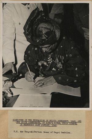 Abdul Rahman of Negeri Sembilan - Signature of the Federation of Malaya Agreement, 1948, and the State Agreements, at King's House, Kuala Lumpur, on Wednesday 21st January, 1948.