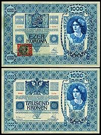 CZE-5-Republika Ceskoslovenska-1000 Korun (1919, foreløpig utgave) .jpg