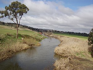 Campbells River - Campbells River flowing under the O'Connell Plains Road bridge at The Lagoon, near Bathurst