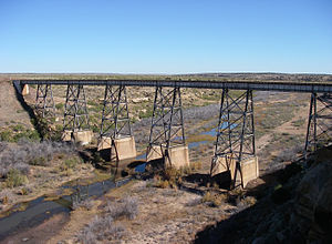 Logan, New Mexico - Railroad bridge spanning the Canadian River valley southwest of Logan