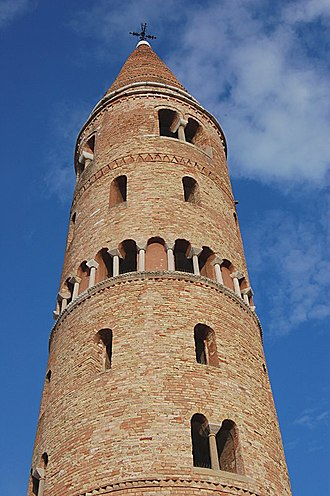Caorle - The cylindrical bell tower of the cathedral.