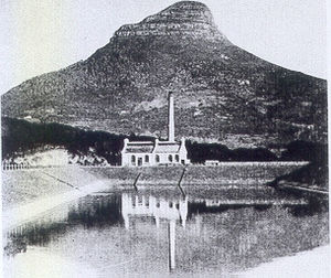 Sir David Graaff, 1st Baronet - Photograph of the newly completed Graaff Electric Lighting Works next to the Molteno Dam in 1895.