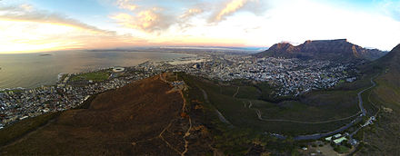 An aerial panoramic of Cape Town's City Bowl taken from above Signal Hill looking north. Cape Town City Aerial.jpg