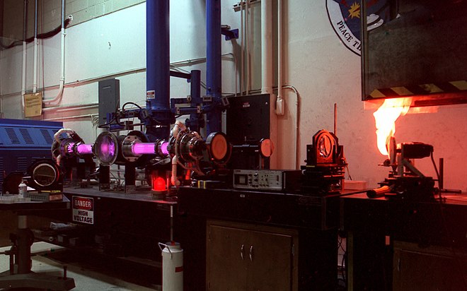 A carbon dioxide laser. Carbon Dioxide Laser At The Laser Effects Test Facility.jpg