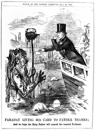 "Great Stink - ""Michael Faraday giving his card to Father Thames"", commenting on Faraday gauging the river's ""degree of opacity"""