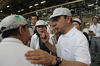 Carlos Ghosn - Carlos Ghosn at Nissan's Honmoku Wharf, a logistics hub about 10 km southeast of Nissan's global headquarters in Yokohama, July 2011