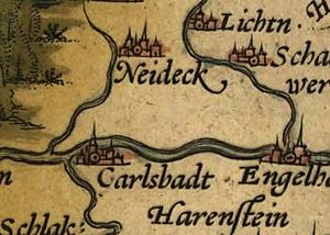 Scanned crop of 15th-16th century Bohemia map ...