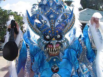 Bonao - A costumed reveler during the 2006 carnival in Bonao.