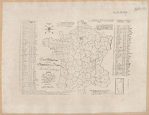 Dot distribution map - Carte Philosophique figurant la Population de la France