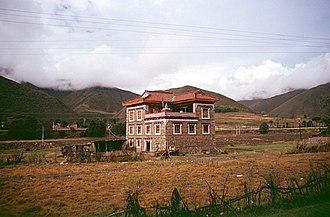 Litang County - Modern Tibetan home on road Kangding to Litang