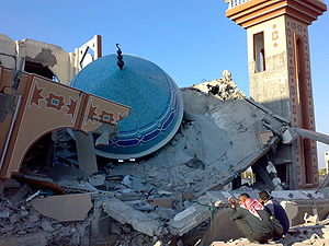 English: Destroyed mosque during Operation Cas...