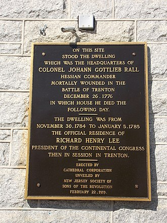 Cathedral of St. Mary of the Assumption (Trenton, New Jersey) - Historical marker on the rectory.