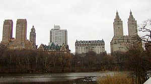 Eighth Avenue (Manhattan) - Housing cooperatives on CPW. The San Remo on the right, The Langham right from center, The Dakota left from center, and The Majestic on the far left.