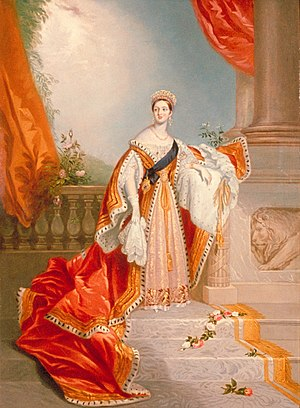 Chalon head - Portrait of Queen Victoria in her Robes of State, 1837 by Alfred Edward Chalon.