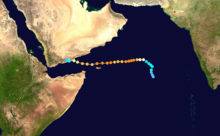 A track map of Extremely Severe Cyclonic Storm Chapala (04A) during late October and early November