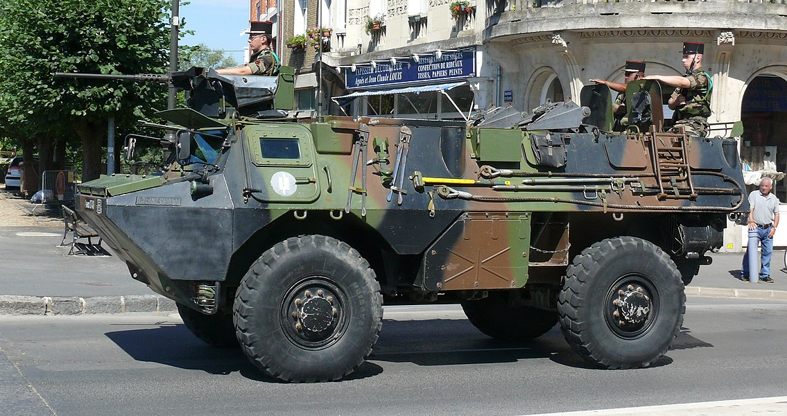 "Véhicule de l'Avant Blindé (VAB - ""Armoured Vanguard Vehicle"") of the 3rd regiment engineers, 1st Mechanised Brigade of the French Armée de Terre during the Bastille Day Parade in Charleville Mézières, 2010. The Véhicule de l'Avant Blindé or VAB is an armoured personnel carrier and support vehicle."