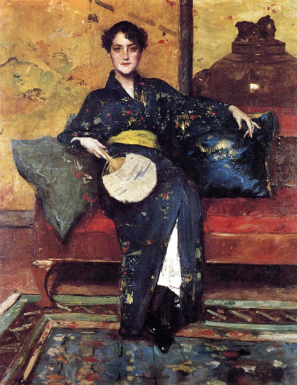 593px Chase William Merritt The Blue Kimono 1888 Im JAPANFIEBER Von Monet bis Manga