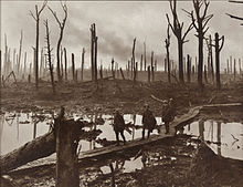 Soldiers walk across duckboards amidst a defoliated forest