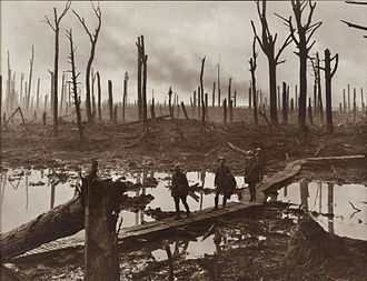 Boardwalk - Australian soldiers walking along duckboards during the Battle of Passchendaele