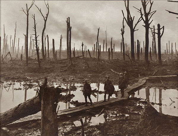 The Battle of Passchendaele, at which Jacob commanded II Corps, during the First World War