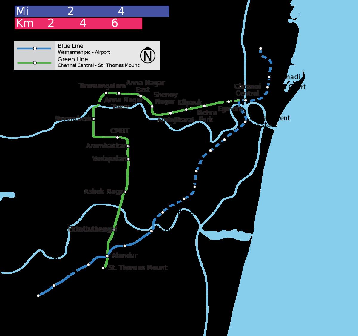 Schematic diagram of Chennai Metro
