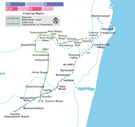 Schematic diagram of Chennai Metro's lines.