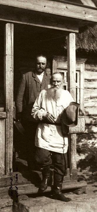 Tolstoyan movement - Vladimir Chertkov (left) with Leo Tolstoy (right)