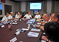 Chief of U.S. Naval Operations Adm. Jonathan Greenert, center right, speaks with British Royal Navy First Sea Lord Adm. Sir George Zambellas, center left, during a meeting at the National Defense University 130606-N-ZI511-233.jpg