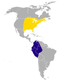 map of the Americas showing yellow over much of eastern North America and dark blue in northwestern South America