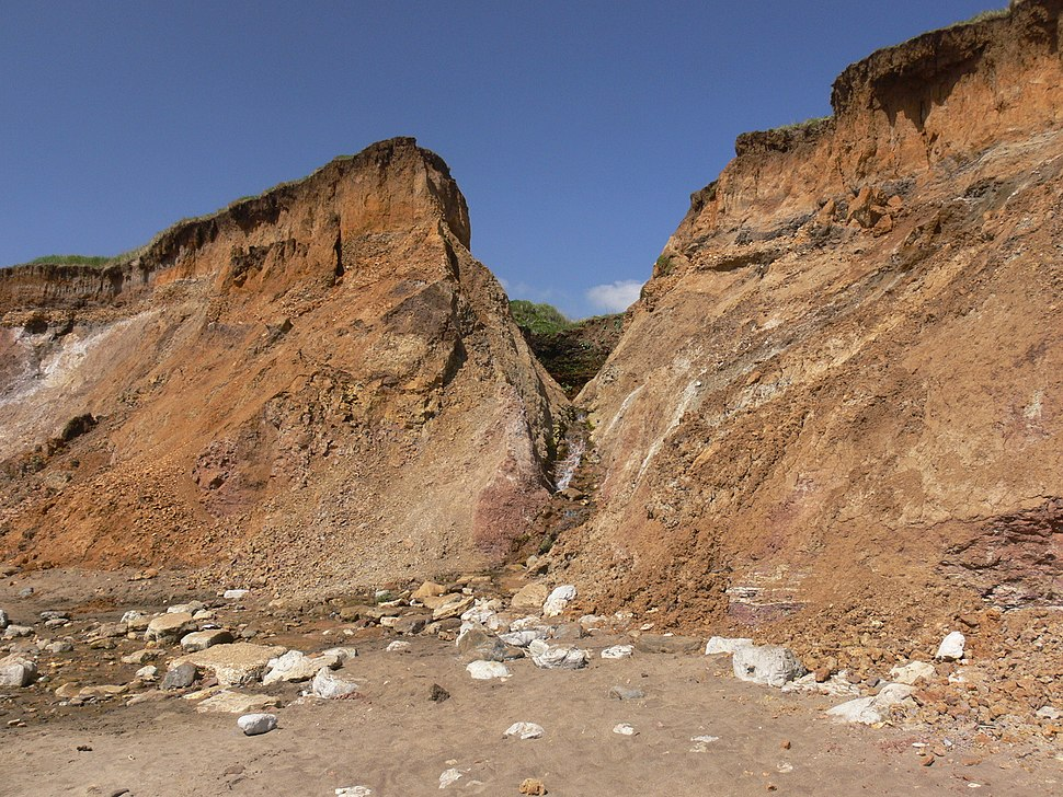Chine forming on soft cliffs at Compton, Isle of Wight