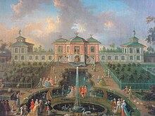 Hofstaat vor dem Chinesischen Pavillon am Schloss Brühl (Quelle: Wikimedia)