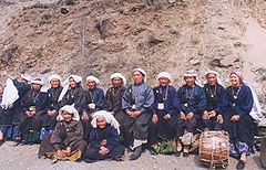 Surviving participants of the first all-woman Chipko action at Reni village in 1974 on left jen wadas, reassembled thirty years later.