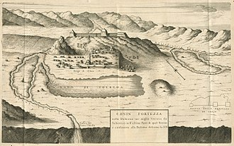 Siege of Knin - Vincenzo Coronelli's illustration of Knin from the late 17th century, during Ottoman rule