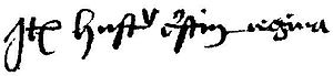 Christina Abrahamsdotter - Christina's name as recorded by a member of the Stockholm guild Helga Lekamen, confirming her as queen in 1470