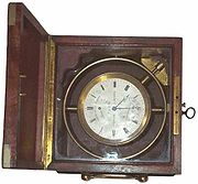 A traditional marine chronometer.
