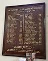 Church of St Andrew, Willingale, Essex, England - interior incumbent list.JPG