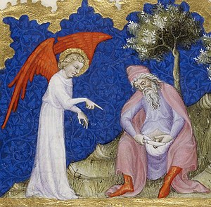 Religious male circumcision - Abraham circumcises his own penis - Circumcision of Abraham, from the Bible of Jean de Sy, ca. 1355-1357