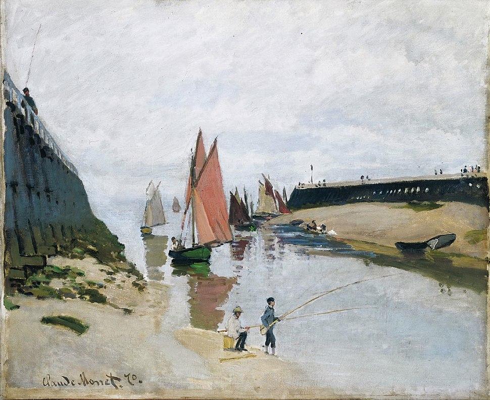 Claude Monet, 1870, Le port de Trouville (Breakwater at Trouville, Low Tide), oil on canvas, 54 x 65.7 cm, Museum of Fine Arts, Budapest