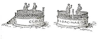 Shrine of Venus Cloacina - Reconstruction of the Shrine of Venus Cloacina, shown in two views in a 1906 drawing