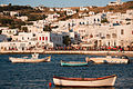 Coastline water boats against the cityscape of Mykonos island, Cyclades, Agean Sea, Greece.jpg