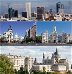 From upper left: view of business districts of AZCA and CTBA, Gran Vía street and Metropolis Building, the Palace of Communication, view of Royal Palace and Almudena Cathedral.